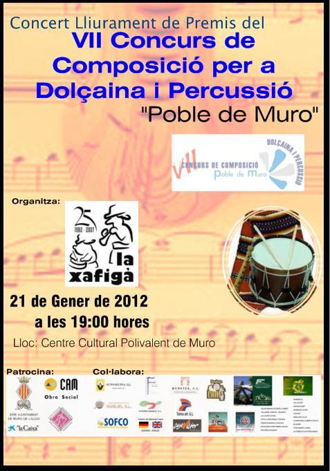 """La Xafigà  Concert entrega de guardons del VII premi de composició per a Dolçaina i Tabal """"Poble de Muro""""."""