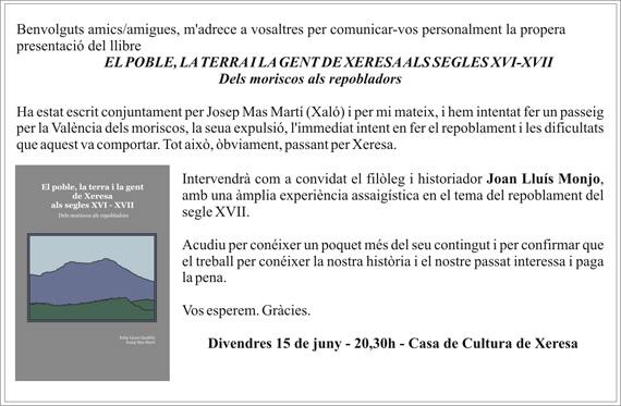 PRESENTACIÓ LLIBRE HISTÒRIA DE XERESA (SEGLES XVI I XVII)