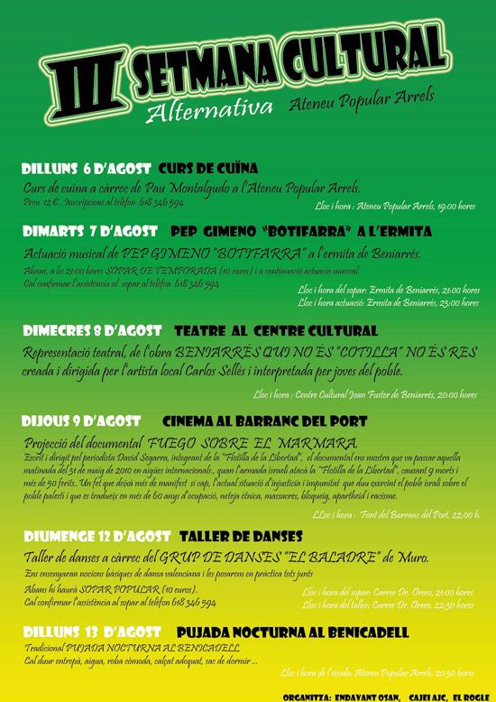 III Setmana Cultural Alternativa de Baniarrés - Ateneu Popular Arrels