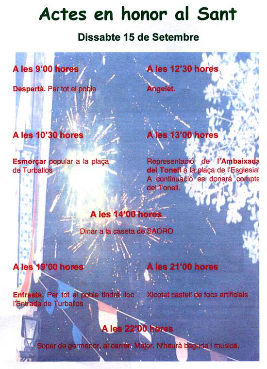 Programari de les festes patronals de TURBALLOS 2012