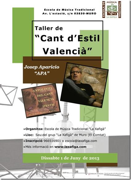 """Taller de """"Cant d'Estil Valencià""""  per Josep Aparicio """"APA"""""""