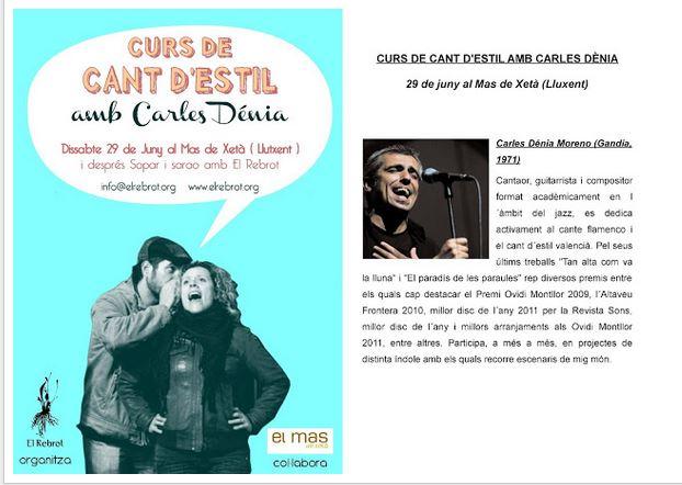 CURS DE CANT D'ESTIL AMB CARLES DÉNIA