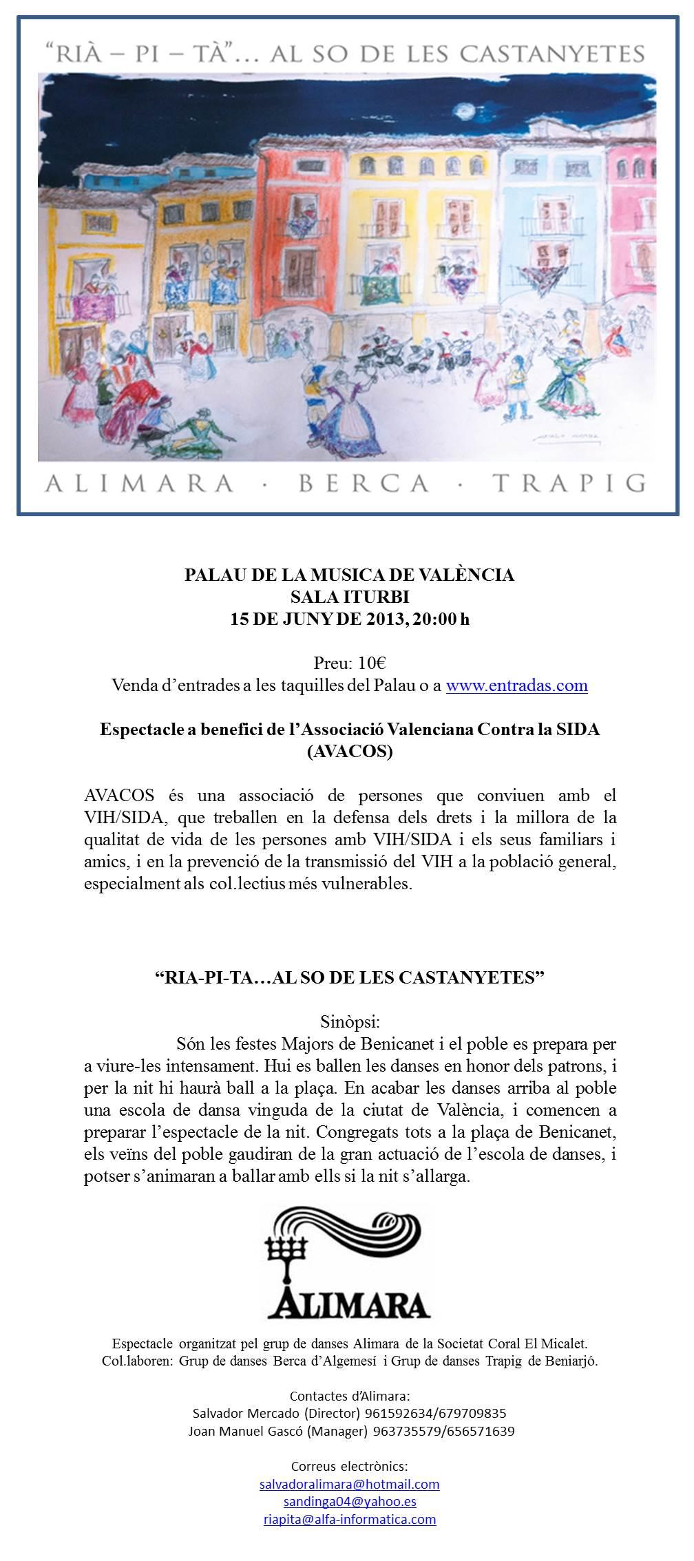 ALIMARA - Espectacle a benefici de l'Associació Valenciana Contra el SIDA (AVACOS)