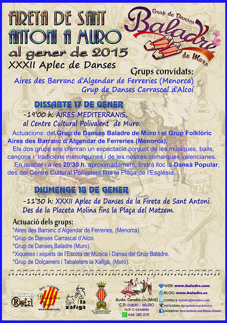 """El Grup de Danses Baladre a la Fireta Sant Antoni de MURO, """"XXXII Aplec de Danses"""" de la Fireta 2015."""